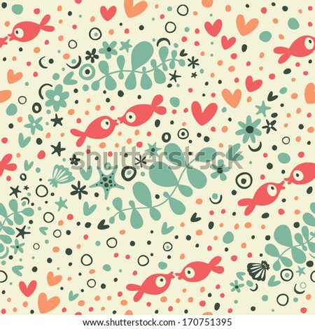 Romantic pattern with hearts and fish
