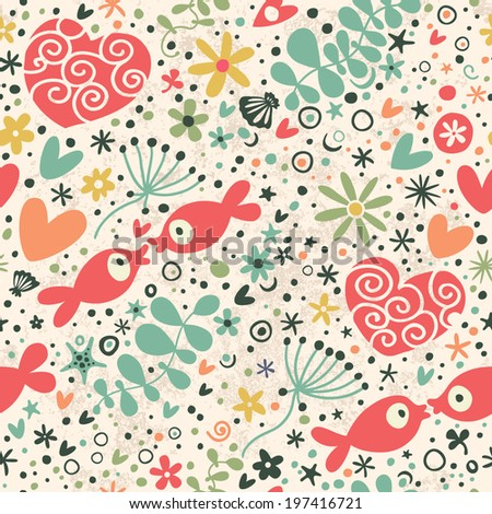 Romantic pattern with hearts and fish. Seamless background.
