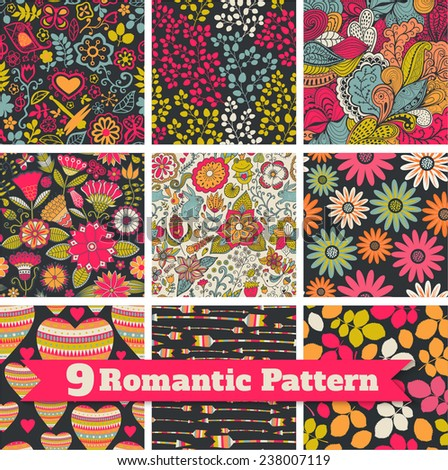 Romantic patterns collection. Seamless pattern with hearts for Valentine's Day design. Decorative backdrop with hearts, birds, butterfly.Romantic background. Holiday texture. - stock vector
