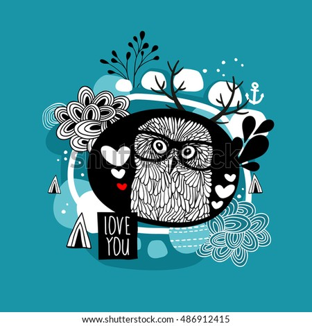 Romantic portrait of the owl in eyeglasses. Vector illustration for greetings cards.