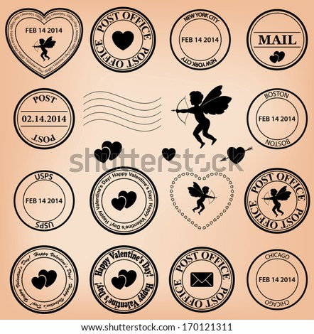 romantic post stamps for valentine day. Eps 8. - stock vector