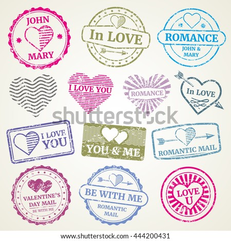 Romantic postage stamp vector set for wedding and Valentines Day post card, invitation design. Stamp in form heart and stamp for postcard illustration - stock vector
