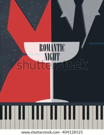 romantic poster, woman man glass poster, romantic night, music piano, poster evening - stock vector