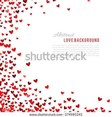 Romantic red heart background. Vector illustration for holiday design. Many flying hearts corner on white background. For wedding card, valentine day greetings, lovely frame. - stock vector