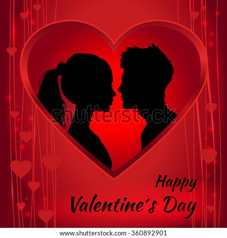 Romantic red Valentine`s Day card with a silhouette of of loving couple.