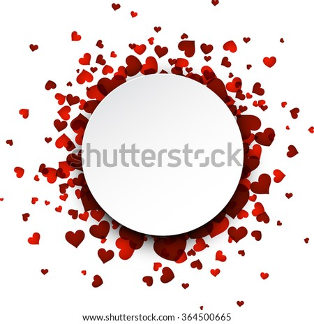Romantic round background with red hearts. Vector illustration.