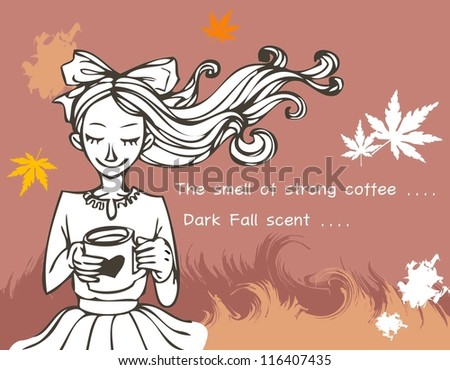 Romantic Scene and sweet dream - relaxing a happy smiling lovely young girl with hot drink and colorful autumnal leaves on a brown background and beautiful field of reeds : vector illustration - stock vector