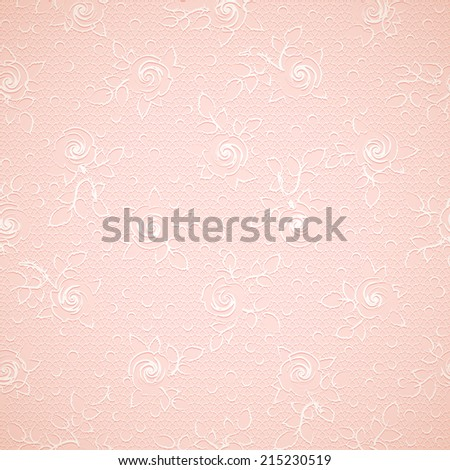 Romantic seamless background pattern with white openwork roses, dots and mesh lace on delicate creamy fabric - stock vector