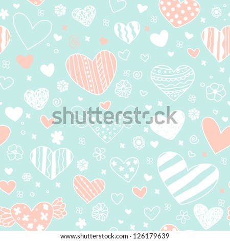 Romantic seamless blue pattern with decorative hearts, flowers and spiral elements. Template for design wrapping paper, package, backgrounds, textile
