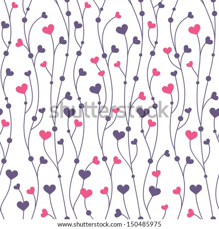 Romantic seamless pattern background with hearts - stock vector