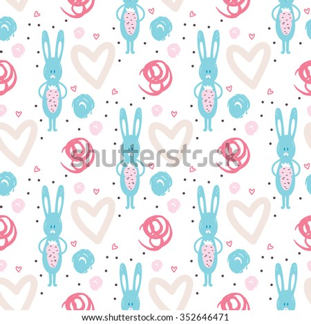 Romantic seamless pattern for valentines day, scrap-booking, invitations, congratulations, wedding, marriage, save the date, baby shower, bridal, birthday. Vector illustration - stock vector