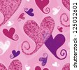 Romantic seamless pattern, hearts - stock vector