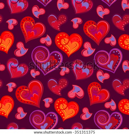Romantic seamless pattern with colorful hand draw hearts.  Bright hearts on purple background. Vector illustration - stock vector
