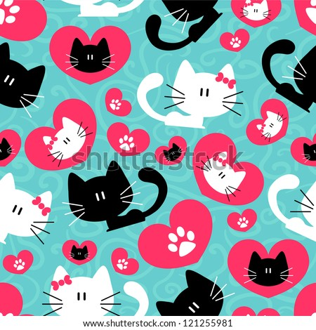 Romantic seamless pattern with cute couple of cats - stock vector