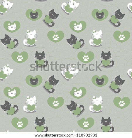 Romantic seamless pattern with cute kittens in love - stock vector
