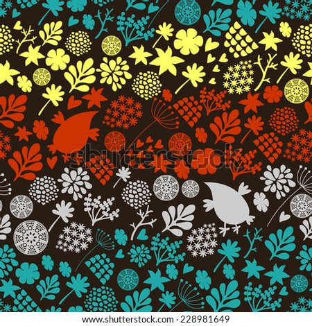 Romantic seamless pattern with cute vintage flowers and birds. Colorful vector background in retro style. - stock vector