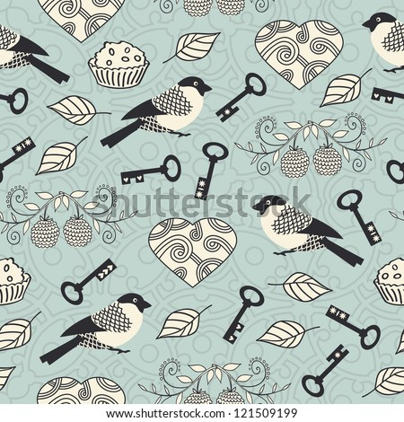 Romantic seamless pattern with hearts, keys and  birds. Vector illustration. - stock vector