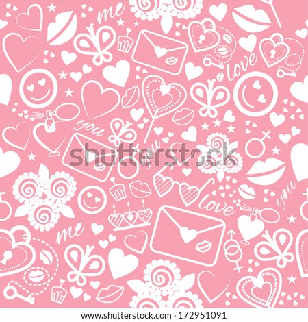 Romantic seamless pattern with many objects.