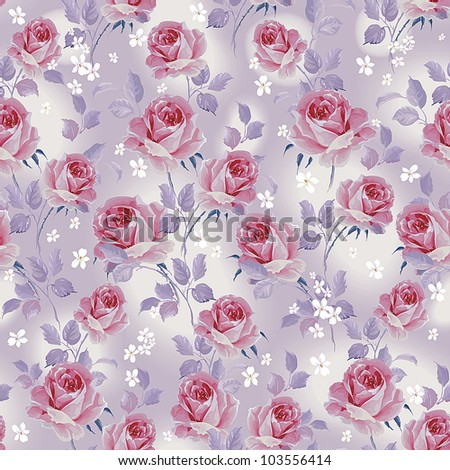 Romantic seamless wallpaper with of pink roses on blue background. Elegance floral vector illustration.