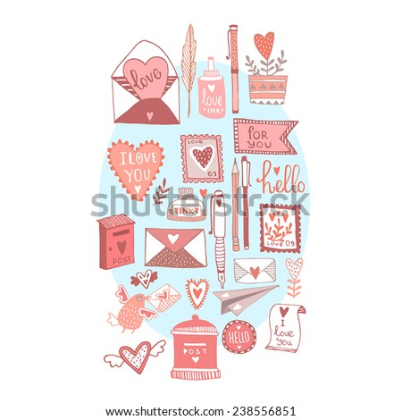 Romantic set. Love cute cartoon vector illustration.  - stock vector