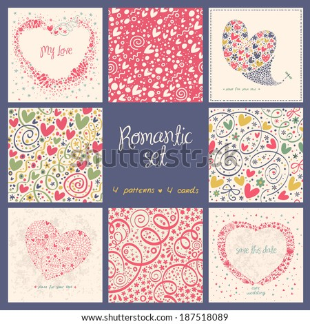 Romantic set with 4 seamless pattern 4 cute cards.  - stock vector