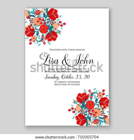 Romantic spring floral rustic flowers background stock photo photo romantic spring floral of rustic flowers background for wedding invitation vector template card red poppy stopboris Images