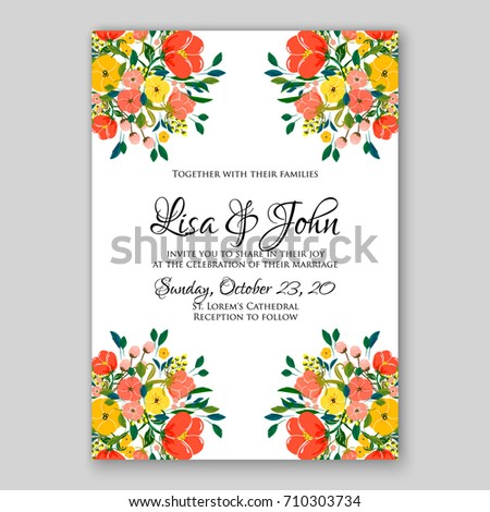 Romantic spring floral rustic flowers background stock vector romantic spring floral of rustic flowers background for wedding invitation vector template card red poppy stopboris Image collections