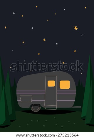 Romantic Travel Night Camping Under The Stars