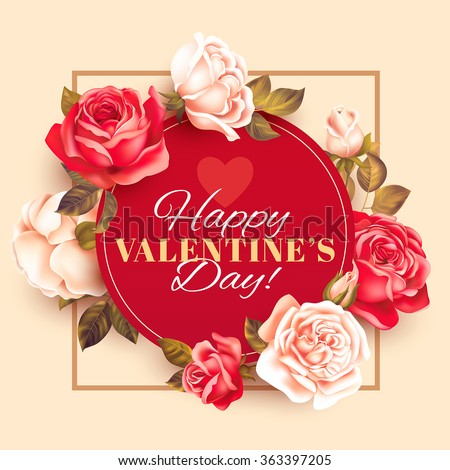 Romantic Valentine card with roses. Vector illustration. - stock vector
