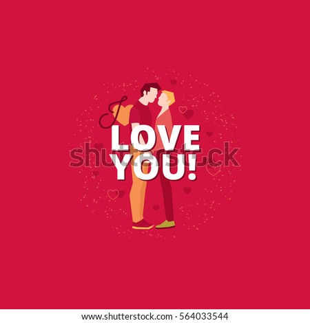 romantic valentines day design with gay couple two men standing and leaning to each other - Gay Valentines Cards