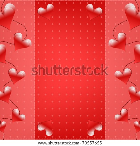 Romantic Valentine vector background with hearts - stock vector