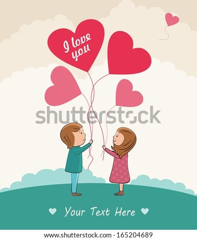 Romantic vector concept. Couple in love with the balloons.  - stock vector