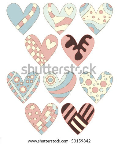 Romantic vector heart collection - stock vector
