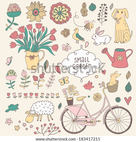 Romantic vector set in vintage style. Cartoon romantic elements - bicycle, watering can, rabbit, dog, rabbit, bouquet, sheep, pigeon and a lot of different spring flowers. - stock vector