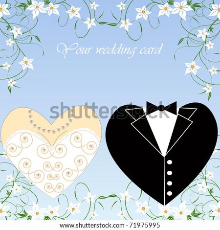 romantic vector wedding set for greeting card - stock vector
