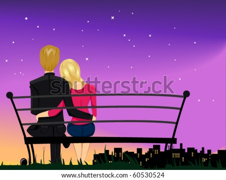 Romantic View of a Male and Female Couple Gazing at the Night Sky While Cuddling With Each Other - Vector - stock vector