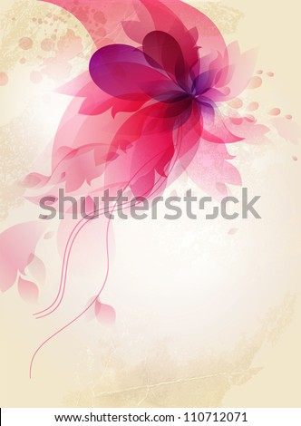 romantic vintage background with pink flower retro element
