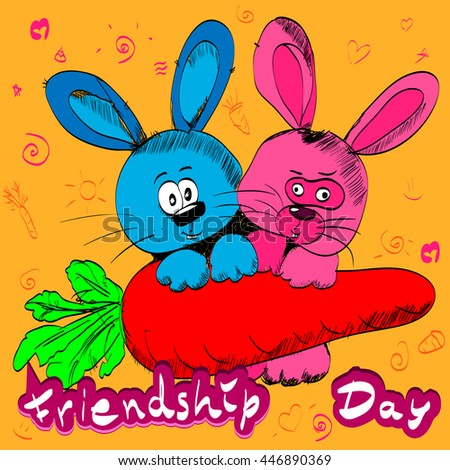 Romantic vintage card with rabbits/ Vector illustration card with colourful text for friendship day.