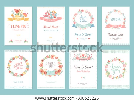 Romantic vintage cards collection. Hand drawn vector floral illustration set. Wedding style.