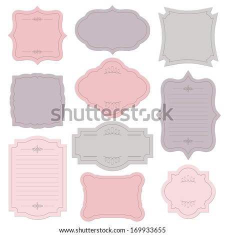 Romantic vintage frame set, isolated on white. Vector illustration. - stock vector