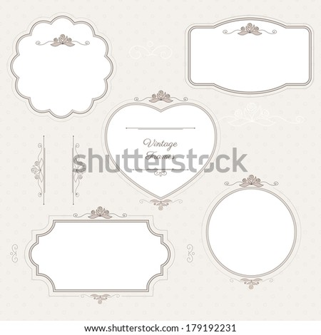 Romantic vintage frames with floral elements on light pattern background