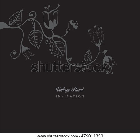 Romantic vintage invitation with floral elements vector illustrator