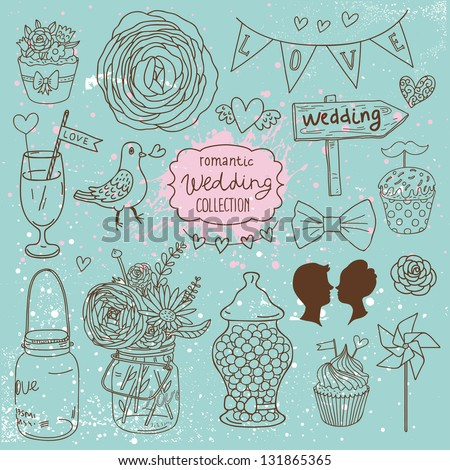 Romantic wedding collection. Cute wedding vector set. Couple of lovers, bow-tie, candies, bouquet, dove, cakes, cocktail and other romantic elements for stylish designs and wedding invitations - stock vector
