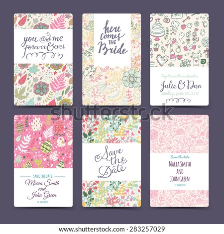 Romantic wedding collection with 6 awesome cards made of hearts, flowers, wreaths, laurel, butterflies, sweet-stuff and birds. Graphic set in retro style. Sweet save the date invitation cards - stock vector