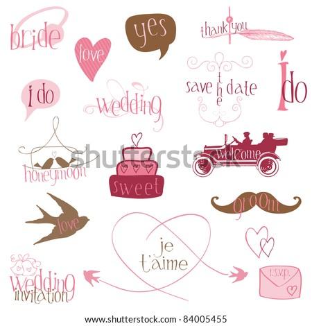 Romantic Wedding Design Elements -for invitation, scrapbook in vector - stock vector