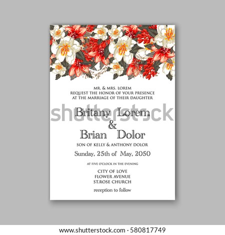 Romantic Wedding Invitation Card Template With Red And Wight Flowers Of  Peony, Poinsettia Daisy And  Engagement Card Template