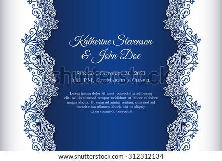 Romantic wedding invitation blue background floral stock vector romantic wedding invitation with blue background and floral ornament as decoration stopboris Image collections