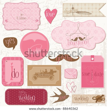 Romantic Wedding Tags and Design Elements -for invitation, scrapbook in vector - stock vector