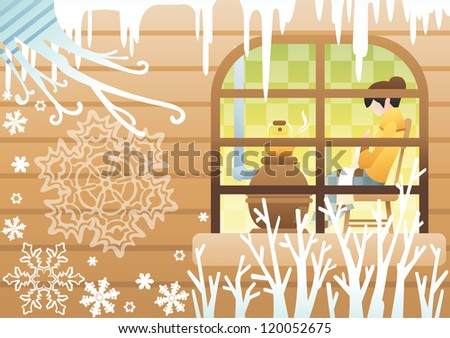 Romantic Winter Landscape - attractive young woman knitting an woolen scarf and boiling water in a kettle in cozy villa on happy holiday on brown stripe pattern background : vector illustration - stock vector