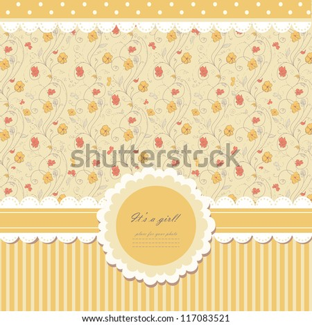 Romantic yellow scrapbooking with text for invitation, greeting, happy birthday, label, postcard, frame, baby seamless, child posrcard, children pattern, clip art, holiday, gift and etc, vector eps 8 - stock vector